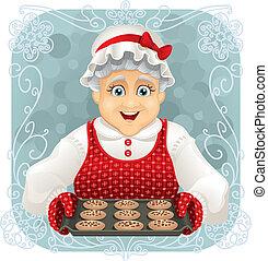 おばあさん, クッキー, いくつか, 焼かれた