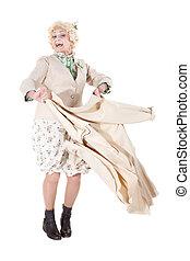 おばあさん, バックグラウンド。, 白, 隔離された, ダンス