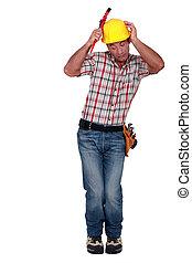 おびえさせている, 建設, worker.