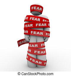 おびえさせている, 恐れている, 人, 包まれた, 中に, 赤, 恐れ, テープ