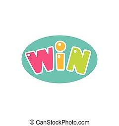 おめでとう, 勝利, ステッカー, フィナーレ, 勝利, ゲーム, デザイン, テンプレート, ビデオ, 泡