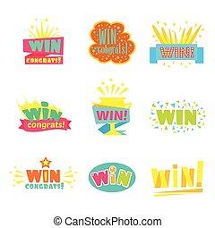 おめでとう, 勝利, フィナーレ, デザイン, コレクション, 勝利, ゲーム, ビデオ, 漫画, ステッカー