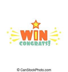おめでとう, 星, 火花, 勝利, ステッカー, フィナーレ, 勝利, ゲーム, デザイン, テンプレート, ビデオ