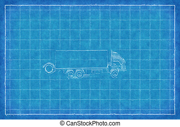 おもちゃのトラック, -, 青い印刷