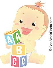 おもちゃのブロック, イラスト, ベクトル, 赤ん坊, 遊び