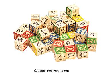 おもちゃのブロック, 木製である, アルファベット, letters., 立方体