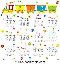 おもちゃの列車, 花, カレンダー, 2020, 子供