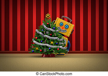 おもちゃの ロボット, 幸せ, ∥で∥, クリスマスツリー