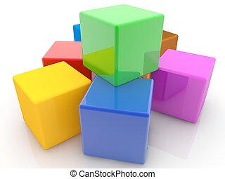 おもちゃ, カラフルである, 立方体