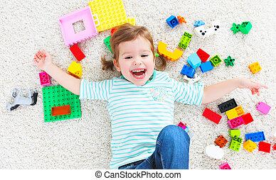おもちゃ, コンストラクター, 笑う 子供, 遊び, 幸せ