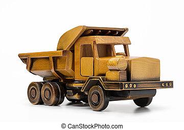 おもちゃ, ゴミ捨て場, 自動車, 黄色, 作られた, トラック, wood.