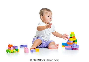 おもちゃ, セット, 建設, 赤ん坊, 女の子, 遊び