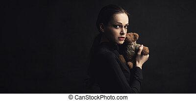 おもちゃ, テディ, 手掛かり, 熊, 悲しい女性