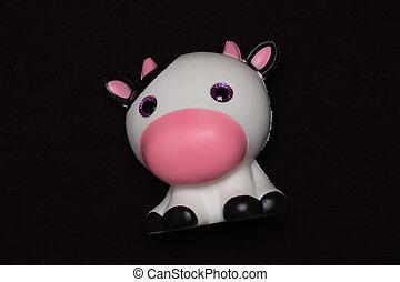 おもちゃ, バックグラウンド。, 柔らかい, かわいい, 暗い, 牛