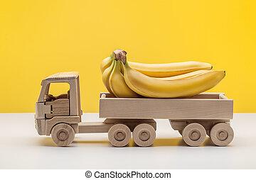 おもちゃ, バナナ, wood., 作られた, 黄色, トラック, トレーラー, 束