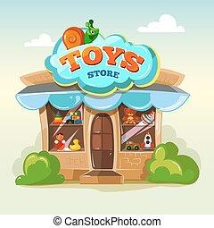 おもちゃ, ライト, 隔離しなさい, イラスト, ベクトル, 背景, ファサド, store.