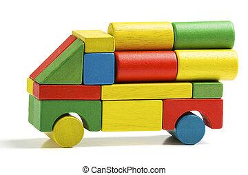 おもちゃ, 交通機関, 木車, ブロック, 多色刷り, トラック, 貨物