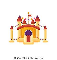 おもちゃ, 催し物, 城, 幼稚, トランポリン, 公園, 隔離された, 黄色, 子供, バックグラウンド。, 白, ベクトル, イラスト, 弾力がある, 運動場, 要素, 膨らませることができる, 娯楽
