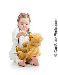 おもちゃ, 医者, 上に, 遊び, 白, 愛らしい, 女の子, 衣服