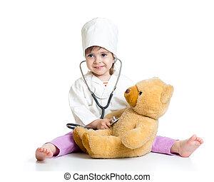 おもちゃ, 医者, 女の子, 子供, 遊び, 衣服