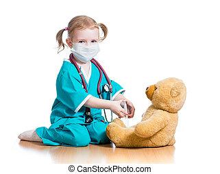 おもちゃ, 医者, 子供, 女の子, 遊び, 衣服