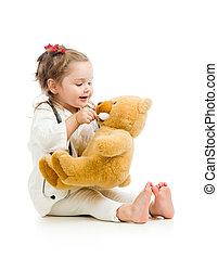 おもちゃ, 医者, 服を着せられる, 上に, 子供, 白, 遊び
