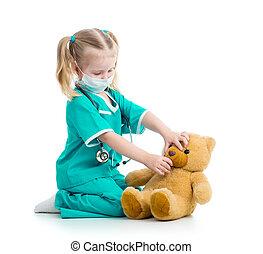 おもちゃ, 医者, 服を着せられる, 子供, 女の子, 遊び
