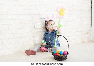 おもちゃ, 卵, 花, 楽しみ, 女の子, イースター, 持つこと