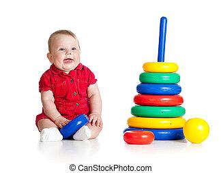 おもちゃ, 大きい, 隔離された, 遊び, 背景, 赤ん坊, 白, 女の子