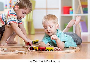 おもちゃ, 子供, 柵, 託児所, 遊び, 道