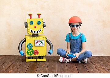 おもちゃ, 幸せ, 子供, ロボット