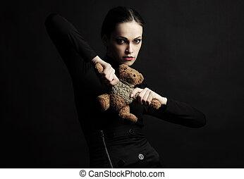 おもちゃ, 手掛かり, 熊, 女, 黒いドレス, 流行