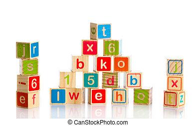 おもちゃ, 木製である, アルファベット, blocks., 立方体, letters.