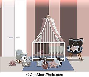 おもちゃ, 椅子, 部屋, 内部, ほこりまみれである, 容易である, design., 床, 現代, ワードローブ, 家具, illustration., 白, 託児所, style., 女の子, おおい, ピンク, 平ら, ベクトル, 枕, ベッド, 赤ん坊