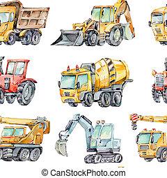 おもちゃ, 機械, seamless, 水彩画, コンクリート, トラクター, kids., 建物, 自動車, ...