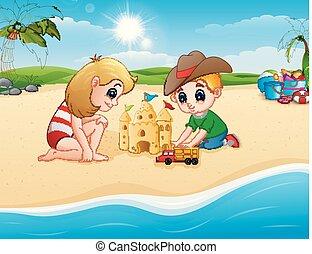 おもちゃ, 砂, 子供, トラック, 作成, 城