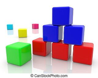 おもちゃ, 積み重ねられた, カラフルである, 立方体