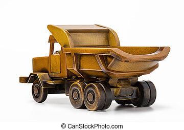 おもちゃ, 自然, 木, 作られた, トラック, truck-dump, ビュー。, 後部