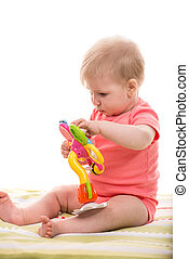 おもちゃ, 花, ブロンド, 女の赤ん坊, 遊び