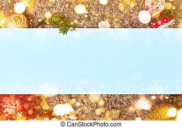 おもちゃ, 葉, 青, ヘッダー, クリスマス, フレーム, bokeh, コピースペース, フッター, flatley,