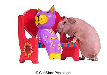 おもちゃ, 豚, モデル, 木製である, ギニー, ねこ, ベンチ