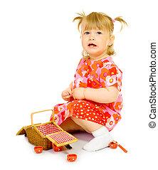 おもちゃ, 赤ん坊, バスケット, 小さい, 微笑, 服, 赤