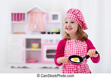 おもちゃ, 遊び, 女の子, わずかしか, 台所