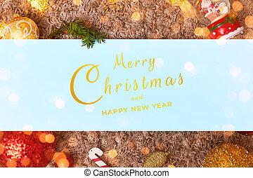 おもちゃ, 陽気, flatley, bokeh, クリスマス, 葉, 青