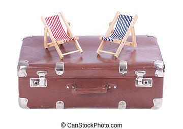 おもちゃ, 革, 型, 2, 椅子, スーツケース, 浜