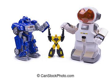 おもちゃ, 3, 背景, 白, ロボット