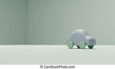 おもちゃ, render, 自動車, 緑の背景, 3d