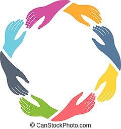 お互い, グループ, 手を持つ
