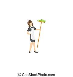 お手伝い, 保有物, 隔離された, 白い背景, raster, broom., イラスト