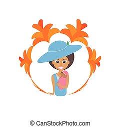 お母さん, ∥で∥, 帽子, 保有物の赤ん坊, 花, イメージ